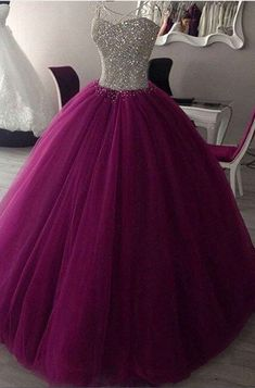 Rosy purple tulle sequins sweetheart ball gown #prom #promdress #dress #eveningdress #evening #fashion #love #shopping #art #dress #women #mermaid #SEXY #SexyGirl #PromDresses