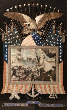 Patriotic Eagle Embroidery with Civil War Battle Watercolor | August 6, 2016 Auction at Rafael Osona Auctions Nantucket, MA