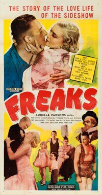 "Freaks (Excelsior, R-1949). Flat Folded Three Sheet (41"" X 81"")"
