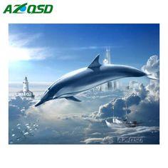 >> Click to Buy << AZQSD DIY Diamond Painting Cross Stitch Wall Decor Dolphin On Sky Full Round Diamond Embroidery Mosaic Painting Set yz1228 #Affiliate