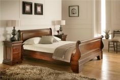 Toulouse Mahogany Wooden Sleigh Bed - £489.   Elegant and serene, the Toulouse sleigh bed is inspired by elements of the 18th century French furniture design