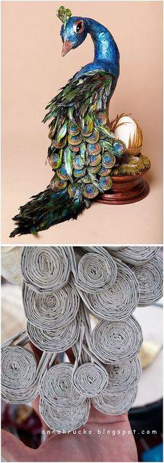 (+1) - Невероятный павлин из бумаги и перьев   СВОИМИ РУКАМИ