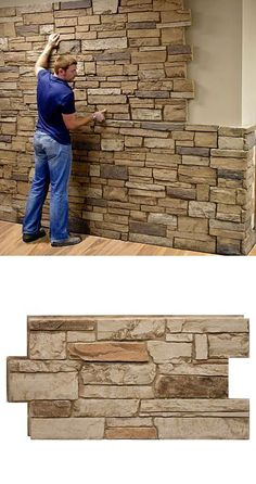 Urestone Ledgestone Desert Tan 24 in. x 48 in. Stone Veneer Panel — Unlike real stone or cultured stone, which require specialized labor to install, Urestone panels install easily and quickly with screws and/or adhesives. Stone Veneer Panels, Faux Stone Panels, Faux Panels, Faux Stone Veneer, Basement Remodeling, Basement Ideas, My Dream Home, Home Projects, Architecture