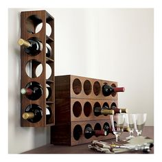 ✔  Crate and Barrel Exclusive | Set of 2 Shesham Wall Mount-Stacking Wine Racks, $49.95