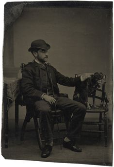 [tintype portrait of a man petting his dog]. [Take a close look, fellow Pinners - does this look like this man may be blind and that is his guide dog/companion animal? Old West, Vintage Photographs, Vintage Photos, Spirit Photography, Daguerreotype, Vintage Dog, Photo Black, Man Photo, Dog Photos