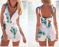 On Sale SEXY V-NECK LEAVES CONJOINED SHORTS JUMPSUIT PLAYSUIT on Luulla