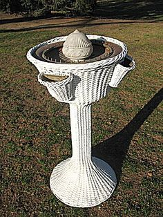 Rare Vintage Wicker Lighted Fountain with 4 Woven Fern Pockets from dovetail on…