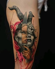 a tattoo you cannot miss! mistery girl with her knife. what is she looking at?