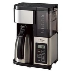 Quickly brew up to 10 cups of fresh, fully-aromatic java at a time with the Zojirushi Thermal Carafe Coffee Maker. Vacuum-insulated stainless steel carafe keeps coffee hot for hours while thumb-activated pouring makes serving seamless. Tea Coffee Vending Machine, Coffee Vending Machines, Coffee Machine, Coffee Meme, Coffee Drinks, Coffee Cups, Iced Coffee, Hot Coffee, Coffee Beans