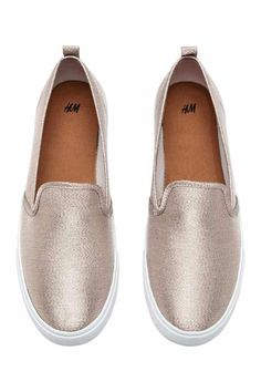 Slip-on trainers - Light beige/Glittery - Ladies
