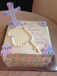Lavender First Communion Cake. Beautiful for girls First Holy Communion.
