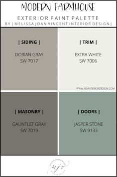 Exterior Paint Color Combinations, Exterior Color Palette, Exterior Gray Paint, Exterior Paint Schemes, House Paint Color Combination, Exterior Paint Colors For House, Paint Colors For Home, Farmhouse Exterior Colors, Farmhouse Paint Colors