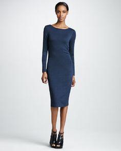 T59J2 Nicole Miller Long-Sleeve Jersey Dress