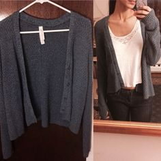 Blue knitted cardigan Light fabric. Worn once. One of the buttons is chipped at the bottom but you can't even tell. Aeropostale Sweaters Cardigans