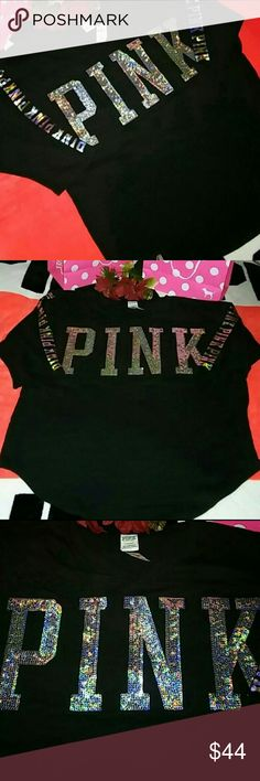 ❤☺NEW! Med VS PINK HALO-BLING JERSEY TEE☺❤ 🌟PLEASE RATE PROMPTLY ONCE YOU RECEIVE YOUR ORDER...THANKS!🌟  ❤***ALL ORDERS WILL BE PHOTOGRAPHED & INSPECTED BEFORE SHIPMENT***❤  ✨PLEASE BE FAMILIAR WITH VS PINK SIZING BEFORE PURCHASING...THANKS!☺✨  ✨✨✨THE PICS DONT DO IT JUSTICE! EVEN CUTER IN PERSON!✨✨✨  ❤☺HARD TO FIND!☺❤  ❤☺SIZE Med..VS PINK BLING BOYFRIEND JERSEY TEE... (COLOR: BLACK W/ HOLOGRAPHIC BLING GRAPHICS)☺❤  🌟BRAND NEW IN ONLINE PACKAGING🌟  ✨SHIPS SAME OR NEXT BUSINESS DAY✨…