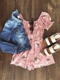 Brighten up your Spring wardrobe! This floral romper features ruched details and comes in an off the shoulder style. Pair with wedges and a a statement necklace for a trendy, Spring inspired look! Casual Outfits, Cute Outfits, Casual Clothes, Gowns Of Elegance, Floral Romper, Cool Suits, Off The Shoulder, Rompers, Denim