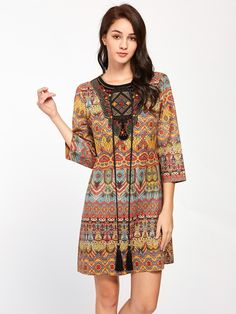 SheIn - SheIn Tasseled Tie Beaded Embroidered Neck Tunic Dress - AdoreWe.com