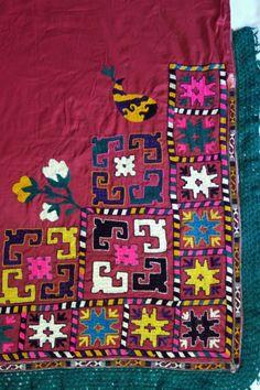 Colorful large square hand-embroidered vintage Saye Gosha with vibrant colors and lush tasseled fringe.