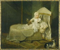 Gerard Anne Edwards Hamilton in his Cradle William Hogarth (London 1697 - London National Trust Inventory Number 446679 Category Paintings Date circa 1732 Materials Oil on canvas Measurements 317 x 397 mm x 15 in) Place of origin England William Hogarth, History Images, Art History, Baby Portraits, Family Portraits, Baroque, Art Uk, Illustrations, Your Paintings