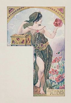 Le rubis.1901. Series : woman with precious gems. Color lithograph on card stock. 14 x 8.9 cm. (7/10).  Art by Ernest Louis Lessieux. (1848-1925).