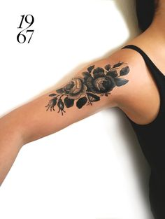 Large vintage rose temporary tattoo in black- floral tattoo - floral tats - vintage - roses - stocking stuffer - gift - favors - fun - girls by intheyear1967 on Etsy