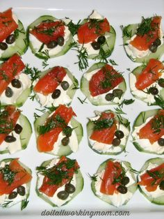 Cucumber and Smoked Salmon Appetizers Recipe. Easy and healthy and delicious recipe. Perfect to entertain during the Holidays. Only 6 ingredients: Cucumbers, cream cheese, smoked salmon, capers, fresh dill and salt.