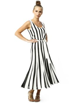 TRICOT DRESS WITH LINES %40 RAYON-%60 ACRYLIC