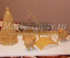 Зимняя композиция из макарон с барашками. Мастер-класс