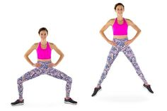 58 Game-Changing Exercises That'll Transform Your Thighs Plie_Squat_Jump_Grouped Thigh Exercises For Women, Tone Inner Thighs, Butt Workout, Leg Workout At Home, Boxing Workout, At Home Workouts, Fitness Workout For Women, Fit Board Workouts, Body Workouts