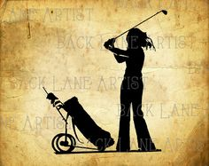 Girl Golf Sports Silhouette Clipart Illustration by BackLaneArtist