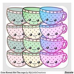 Cute Kawaii Hot Tea cups Square Sticker Cool Stickers, Custom Stickers, Organizing Your Home, Different Shapes, Free Paper, Hello Kitty, Tea Cups, Kawaii, Cool Stuff