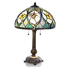 """24.75"""" H Stained Butterfly Bloom Agate Table Lamp