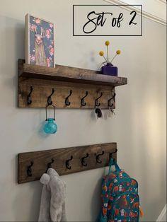 Coat Rack with Shelf Entryway Organizer Towel Rack Key Hooks image 1 Diy Coat Rack, Rustic Coat Rack, Coat Rack Shelf, Wall Mounted Coat Rack, Coat Hanger, Diy Coat Hooks, Entry Coat Rack, Hanging Coat Rack, Vintage Coat Hooks