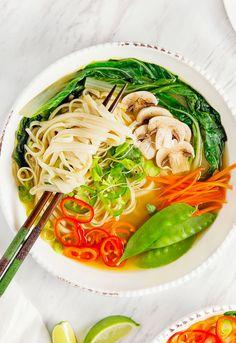 Vegan Pho, plant based, vegan, vegetarian, whole food plant based, gluten free, recipe, wfpb, healthy, healthy vegan, oil free, no refined sugar, no oil, refined sugar free, dairy free, dinner party, entertaining, soup,