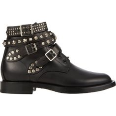 Saint Laurent Studded-Strap Ranger Ankle Boots at Barneys.com