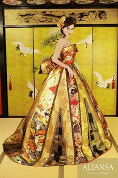 Wedding dress · wedding dress' s dress order · rental dress is Ariansa Oriental Fashion, Asian Fashion, Wedding Kimono, Wedding Dresses, Ball Dresses, Ball Gowns, Kimono Fashion, Fashion Dresses, Japanese Costume