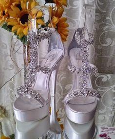 Heel Stiletto Flower Strass del Pietre Sposa e d'Onore