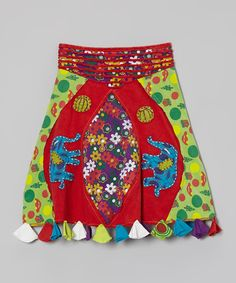 Take a look at the Red & Lime Patchwork Elephant Skirt - Girls on #zulily today!