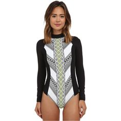 Your beach style offers practical protection with some sass. Stretch surf suit features flattering prints at the front and back. Mock neckline. Long sleeves. B…