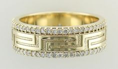 Greek Key designed 14kt yellow gold and double-row diamond eternity band.  Design by Darren Blum.