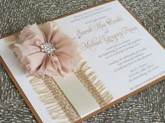 ASHLEY - Country Chic Rustic Fall Wedding Invitation - Mocha, Tan, Ivory and Champagne