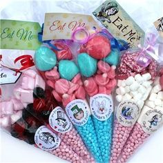 Party Bags & Favours - cone shaped treat bags, marshmallows candy chocolate sprinkles - hot cocoa kits