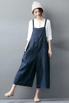 Navy Blue Cotton Linen Casual Loose Overalls Big Pocket Maxi Size Trousers  Fashion Jumpsuit 672f0e675a2