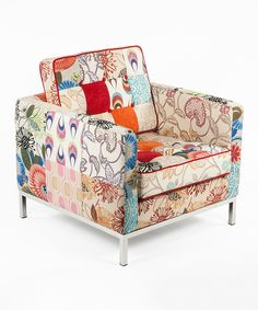 Loving this Cream & Red Patchwork Draper Lounge Chair on #zulily! #zulilyfinds