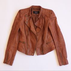 Zara Moto Leather Jacket Zara Brown Leather Moto Jacket Blazer. No Trades. Reasonable offers accepted. Pre-Owned by designer, Karen Zambos. Zara Jackets & Coats