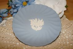 """Vintage Blue Jasperware Scalloped 4"""" Plate with White Flowers ~ Made in England ~ by ArtsyVintageBoutique"""