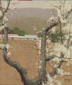 iamjapanese: Eom Youn-Young(엄윤영 Korean) via Landscape Art, Landscape Paintings, Landscapes, Korean Painting, China Art, Korean Art, Photo Tree, Japan Art, Tree Art