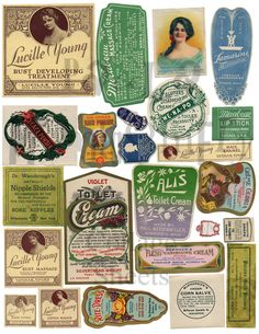 From Paulas personal collection, this 300 dpi INSTANT DIGITAL DOWNLOAD collage sheet has vintage labels from products women have used in years gone by!    ALL collage sheets are from Paula Montgomerys PRIVATE ephemera collection. She owns all the originals and none are from clip art (although you may see some of the images in clip art or other collage sheets since the originals were mass-produced).  Yes, this is the same Paula Montgomery of Rubber Baby Buggy Bumpers (original owner) and…