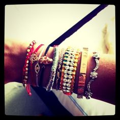 Party arm that I love. Please note Cartier Love Bracelet, the object of my desire.