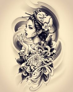 Japanese Geisha Tattoo, Japanese Tattoo Designs, Japanese Sleeve Tattoos, Japanese Art, Tattoo Drawings, Body Art Tattoos, Girl Tattoos, Tattoos For Guys, Tattoo Arm
